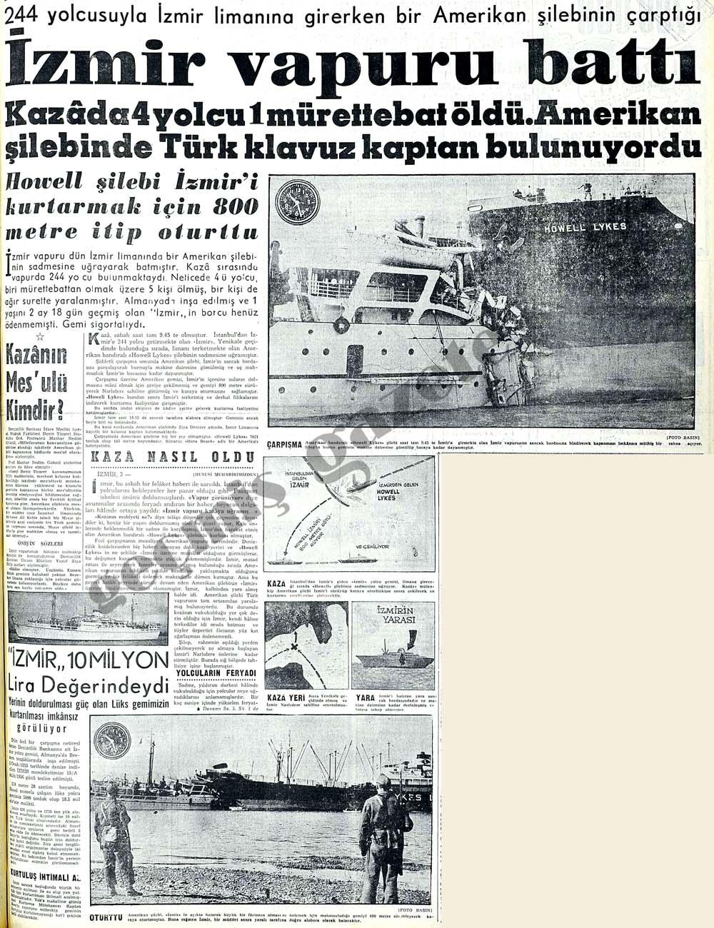 Bir Amerikan şilebinin çarptığı İzmir vapuru battı