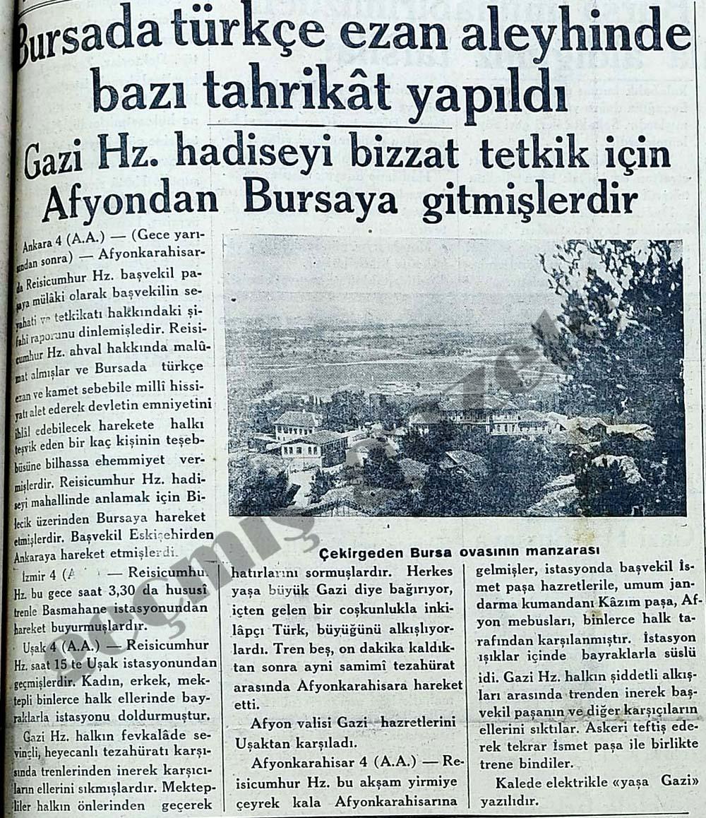 Bursada türkçe ezan aleyhinde bazı tahrikat yapıldı