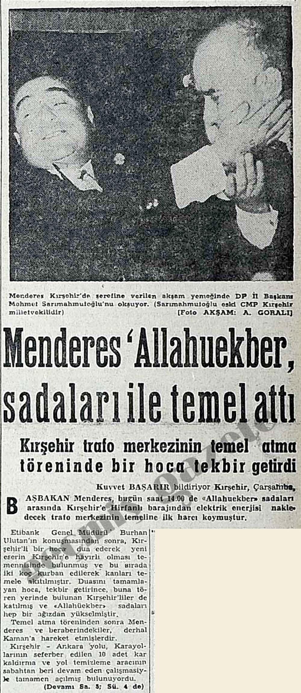 Menderes 'Allahuekber' sadaları ile temel attı