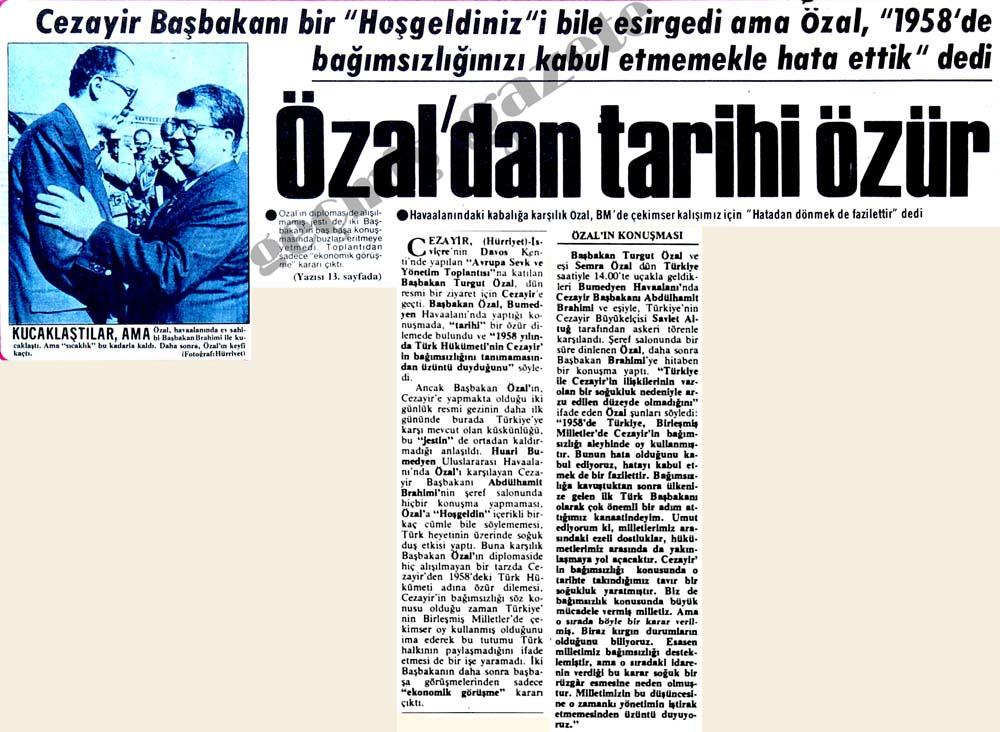 Özal'dan tarihi özür
