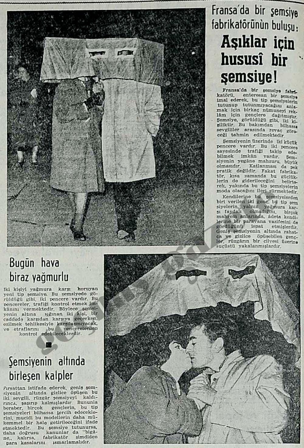 Aşıklar için hususi bir şemsiye!