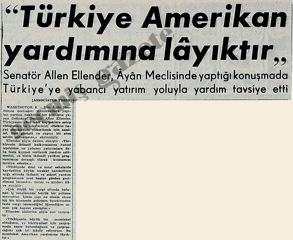 """""""Türkiye Amerikan yardımına layıktır"""""""