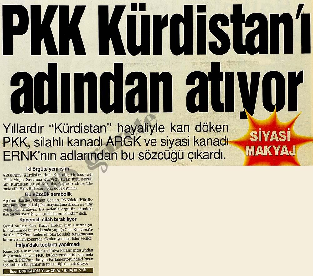 PKK Kürdistan'ı adından atıyor