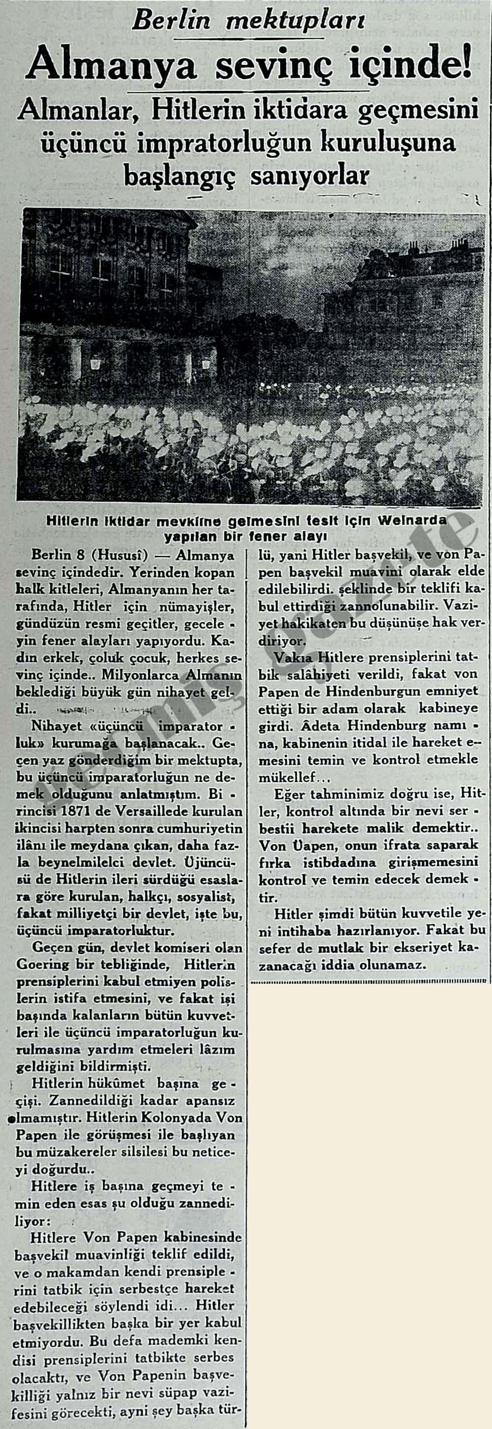 Almanlar, Hitlerin iktidara geçmesini üçüncü impratorluğun kuruluşuna başlangıç sanıyorlar