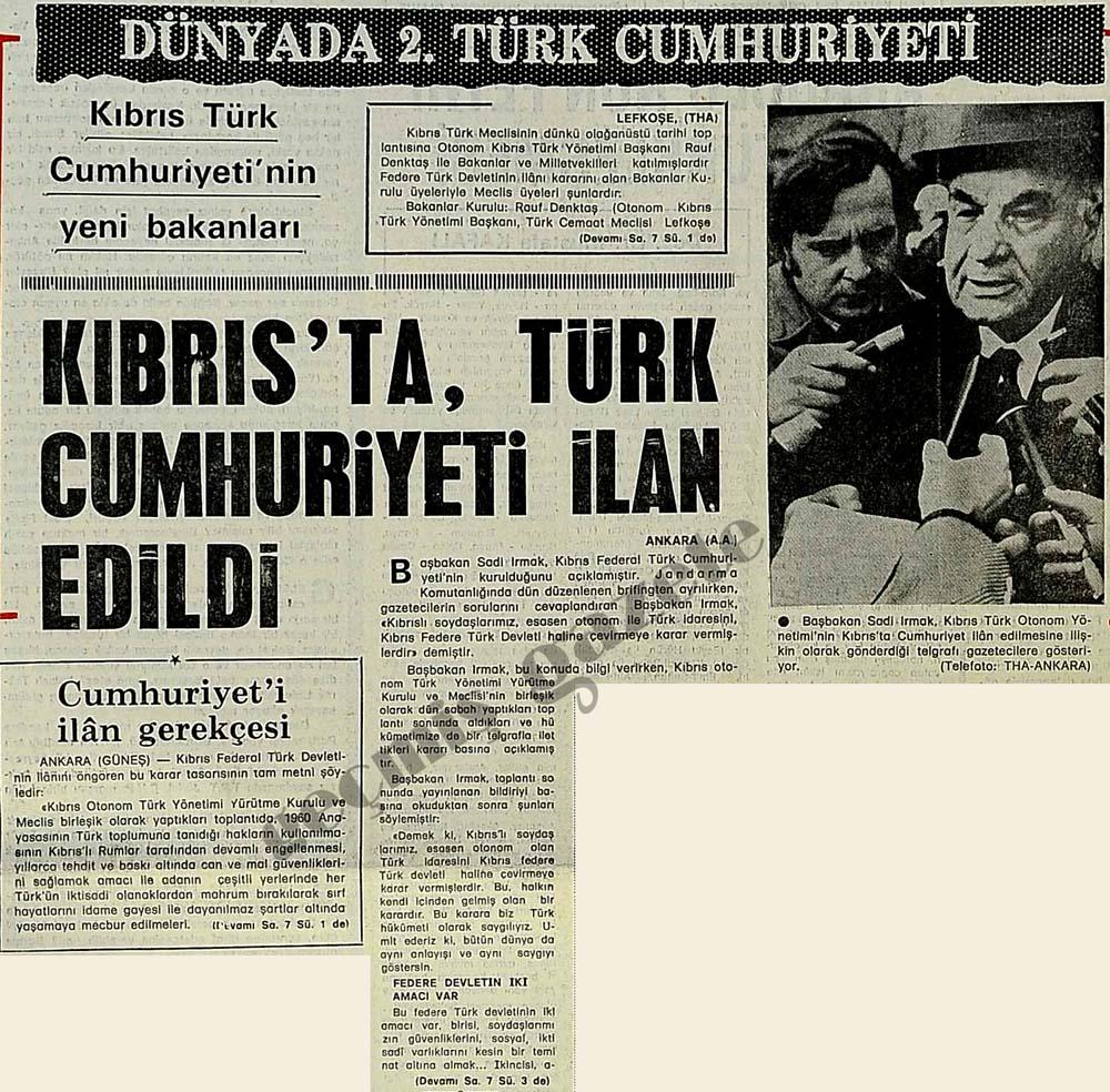 Kıbrıs'ta, Türk Cumhuriyeti ilan edildi