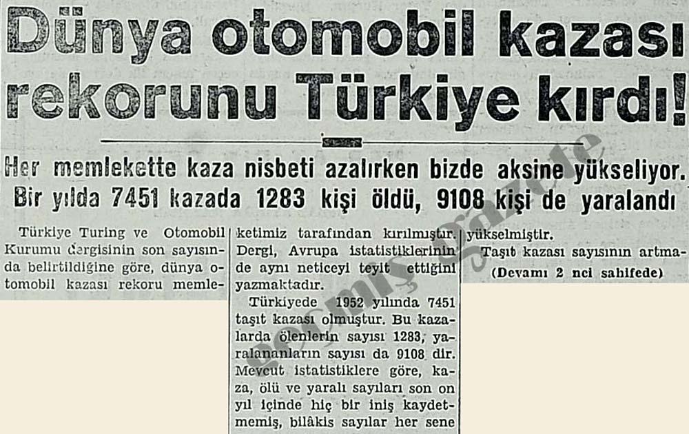 Dünya otomobil kazası rekorunu Türkiye kırdı!