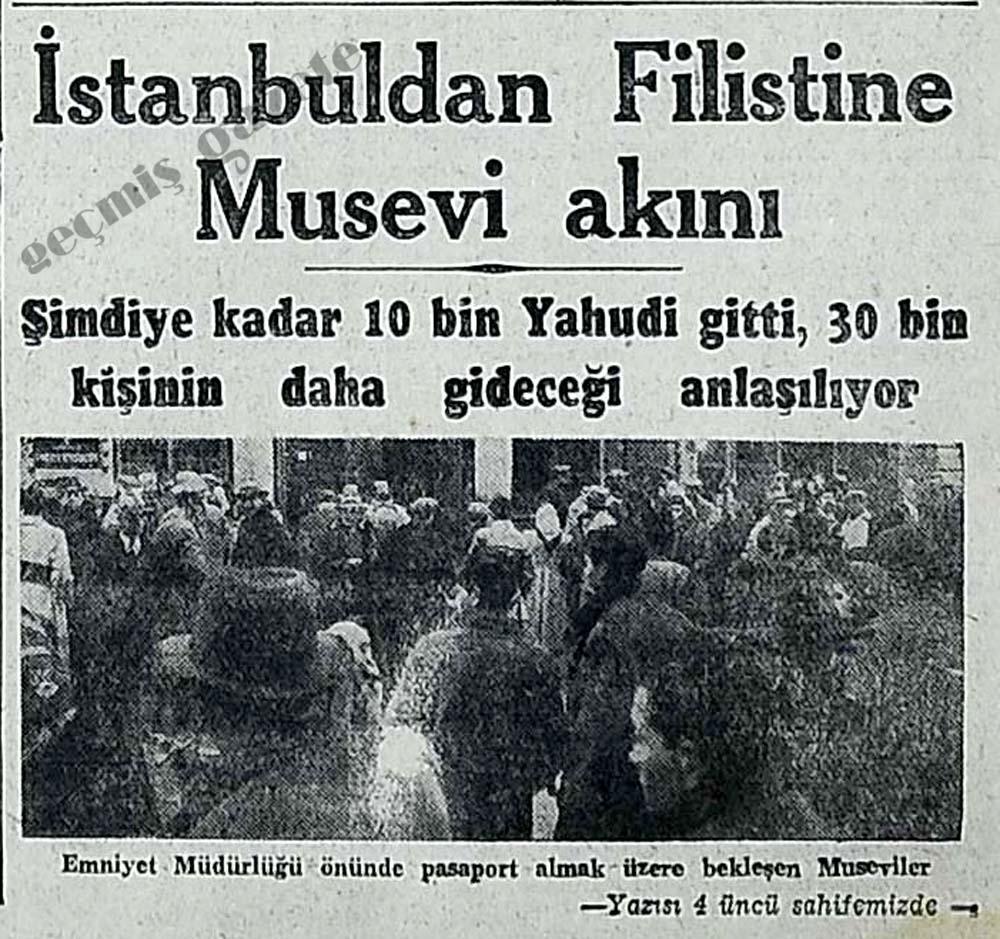 İstanbuldan Filistine Musevi akını