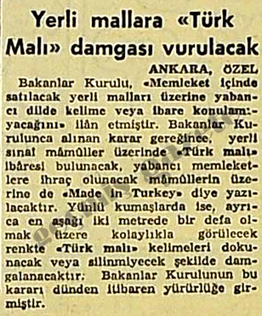 """Yerli mallara """"Türk Malı"""" damgası vurulacak"""