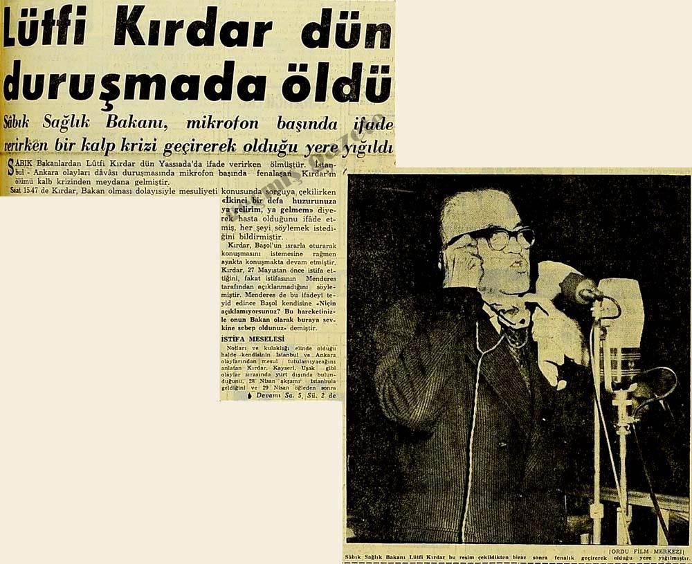 Lütfi Kırdar dün duruşmada öldü