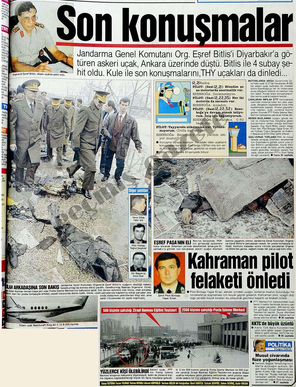 Org. Eşref Bitlis'i Diyarbakır'a götüren askeri uçak, Ankara üzerinde düştü