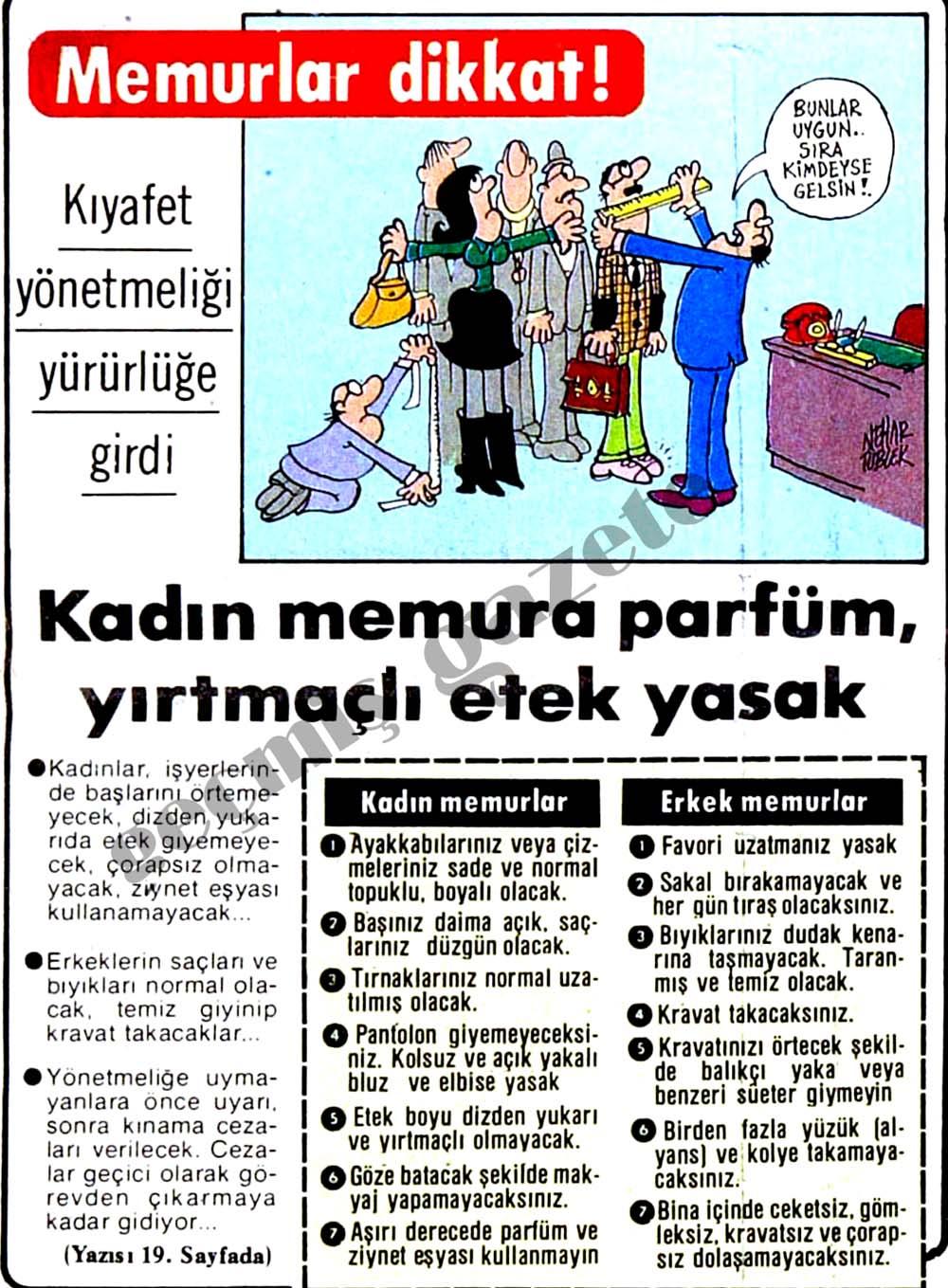Memurlar dikkat! Kadın memura parfüm, yırtmaçlı etek yasak
