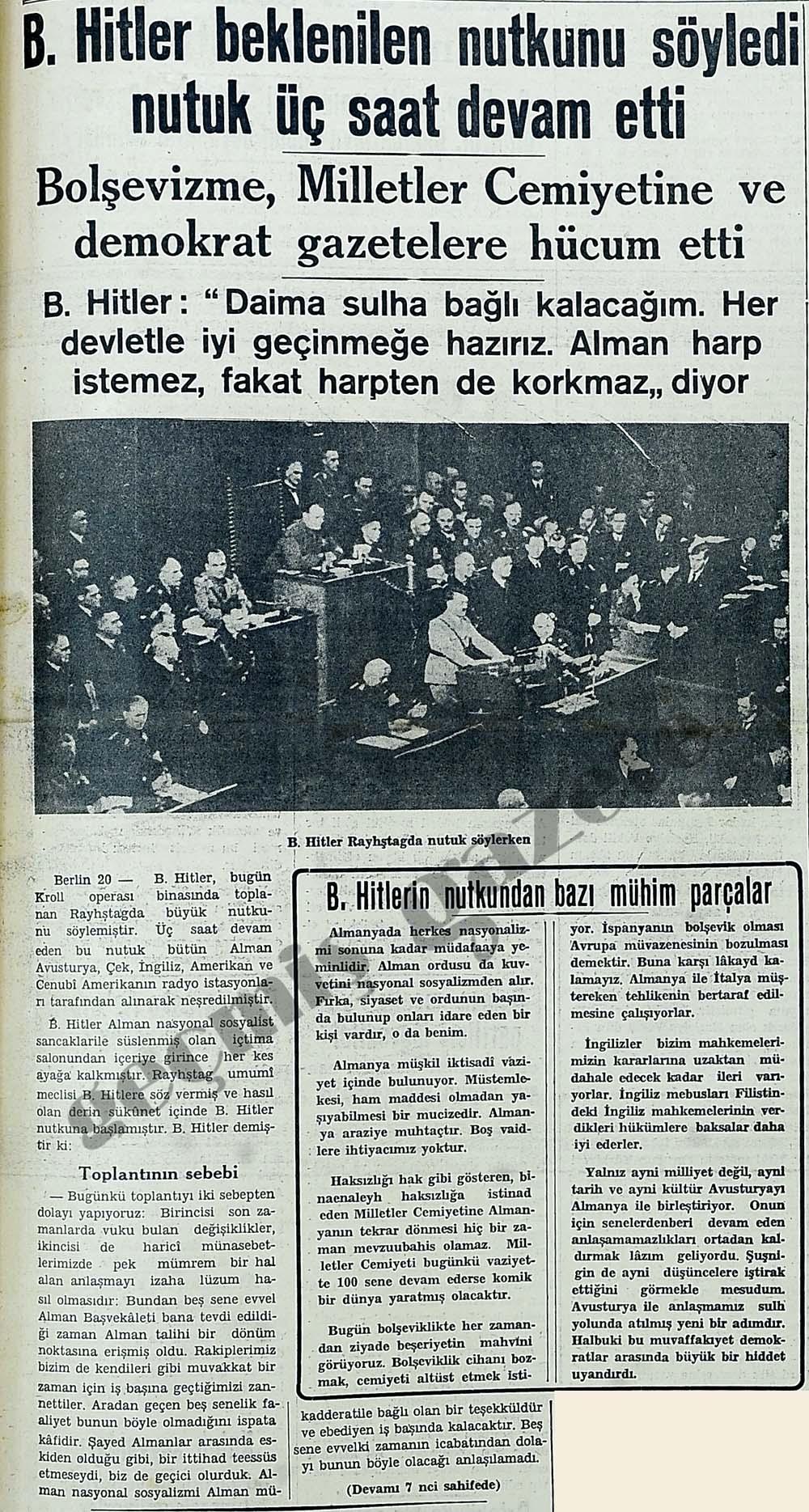 B.Hitler beklenilen nutkunu söyledi