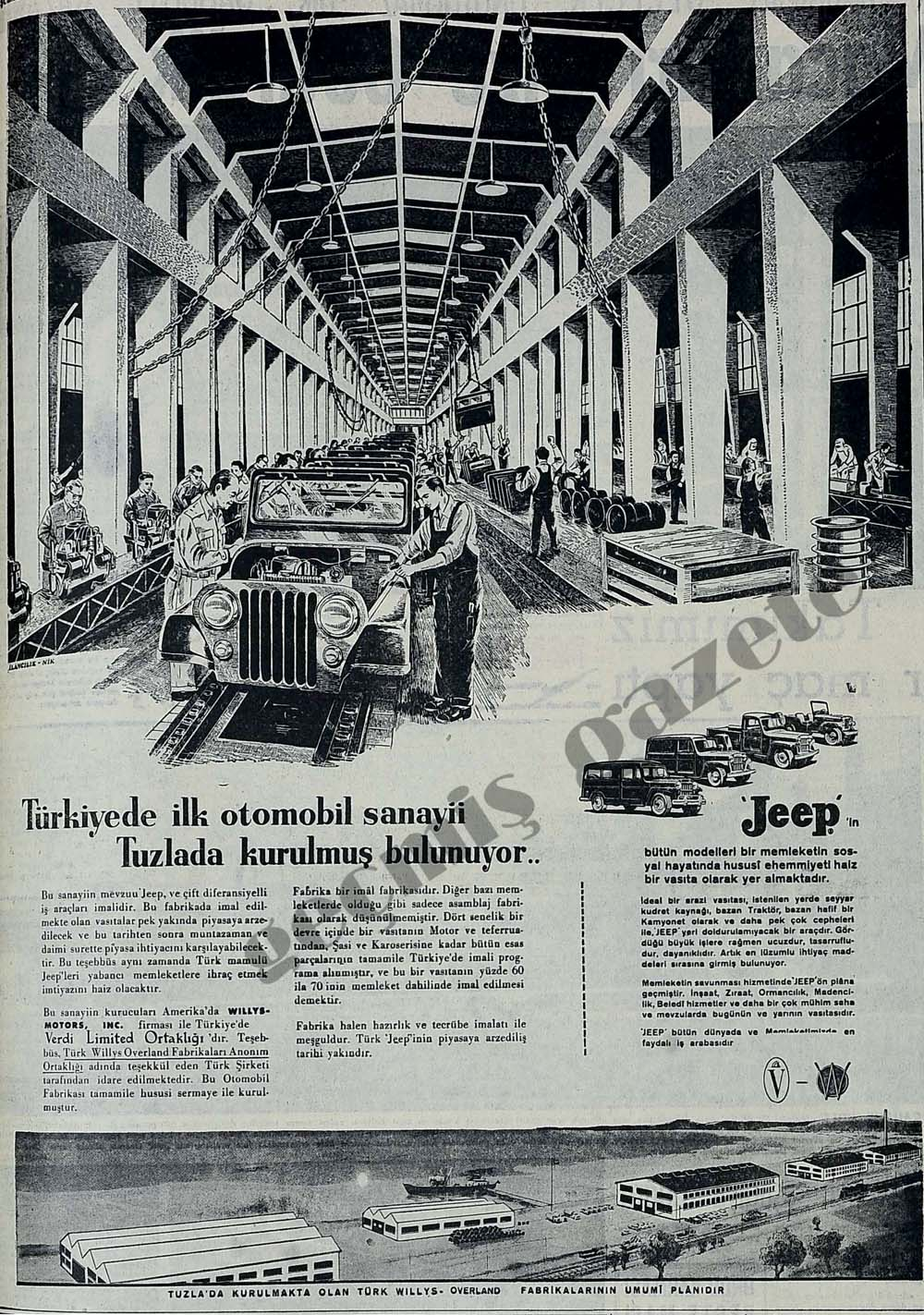 Türkiyede ilk otomobil sanayii Tuzlada kurulmuş bulunuyor..Jeep