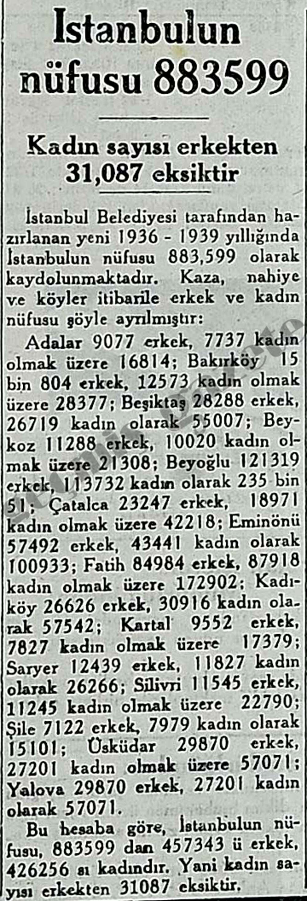 İstanbulun nüfusu 883599, Kadın sayısı erkekten 31,087 eksiktir