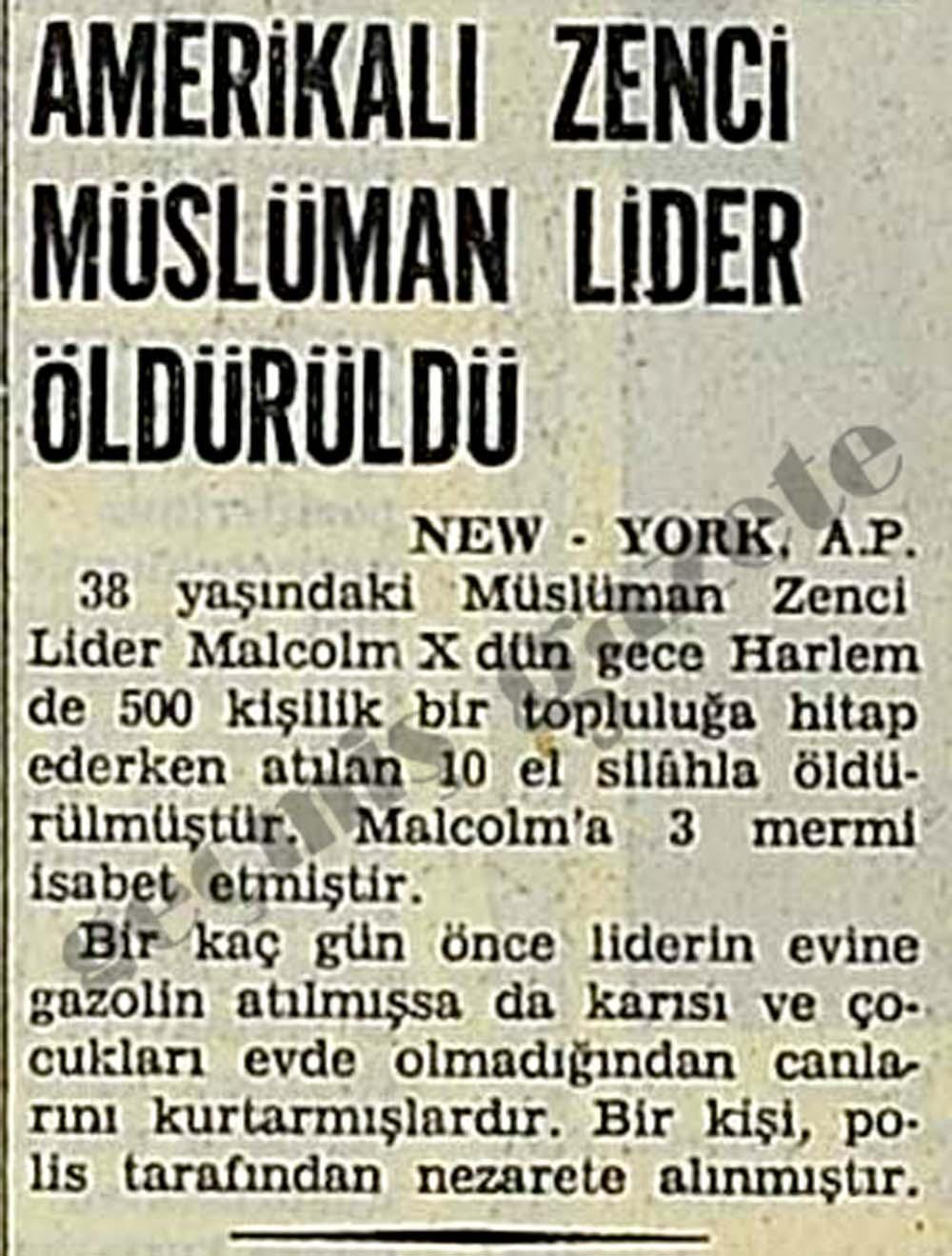 Amerikalı Zenci Müslüman Lider Malcolm X öldürüldü