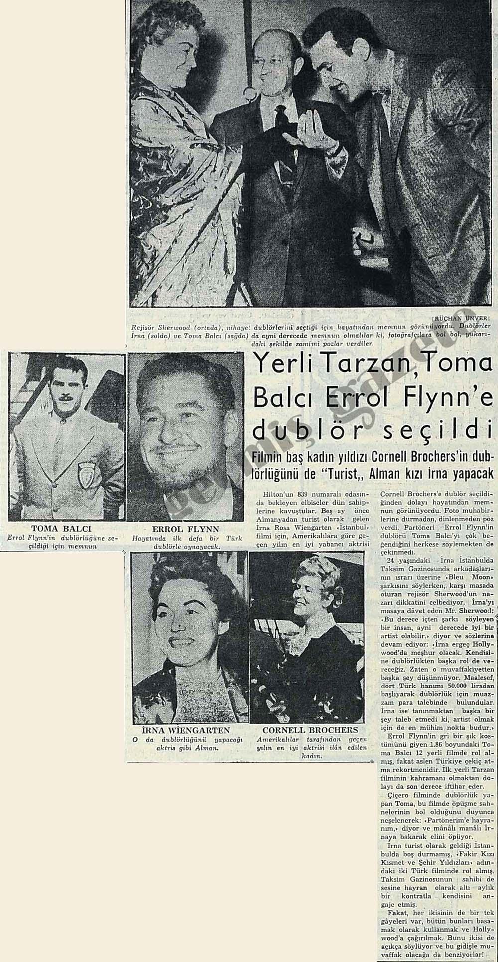 Yerli Tarzan, Toma Balcı Errol Flynn'e dublör olarak seçildi