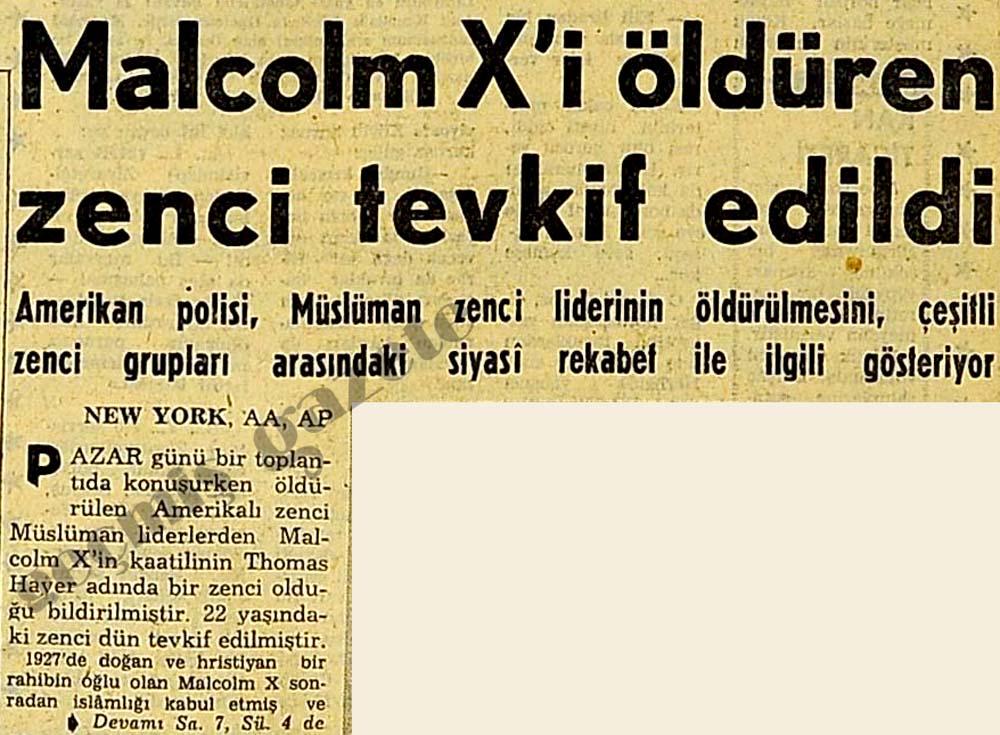 Malcolm X'i öldüren zenci tevkif edildi