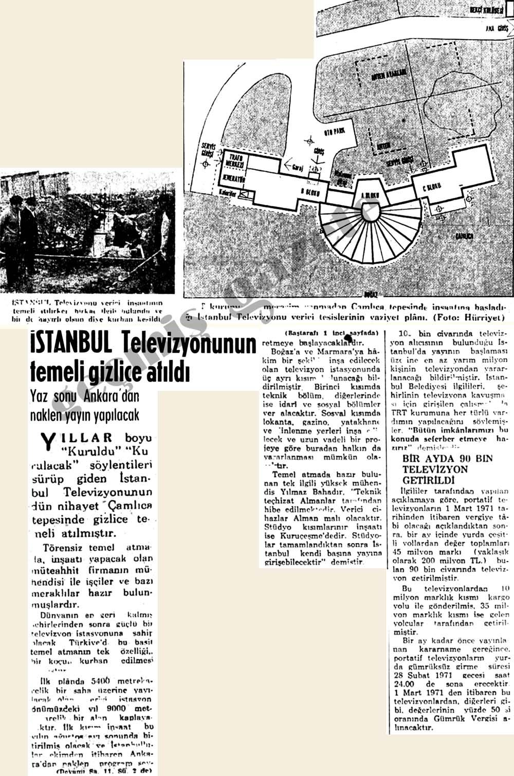 İstanbul Televizyonunun Çamlıca tepesinde gizlice temeli atıldı