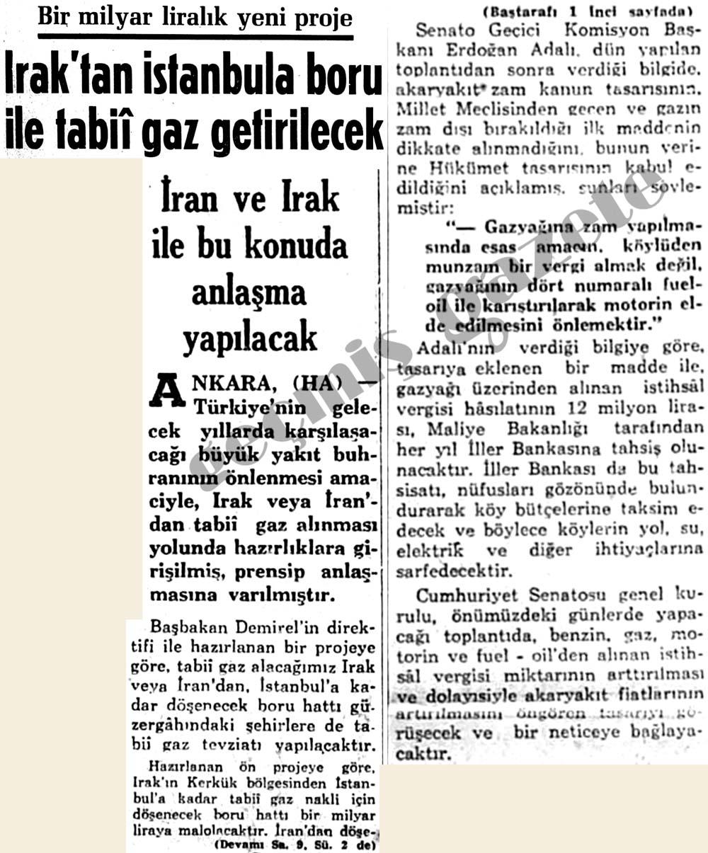 Irak'tan İstanbula boru ile tabii gaz getirilecek