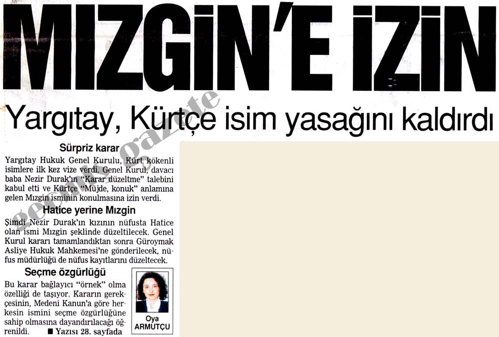 Yargıtay, Kürtçe isim yasağını kaldırdı