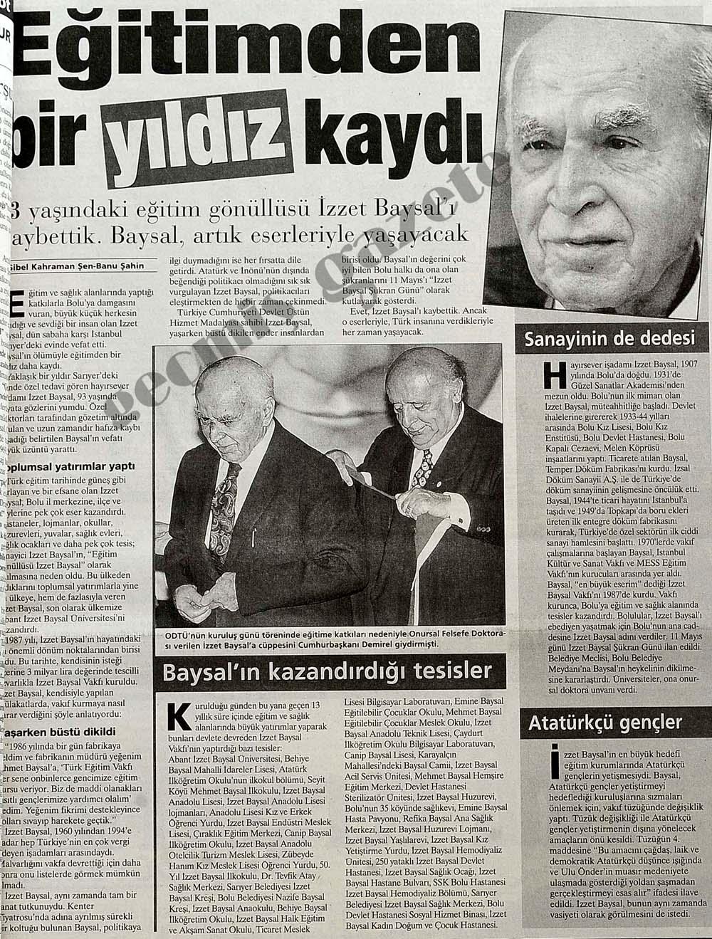93 yaşındaki eğitim gönüllüsü İzzet Baysal'ı kaybettik