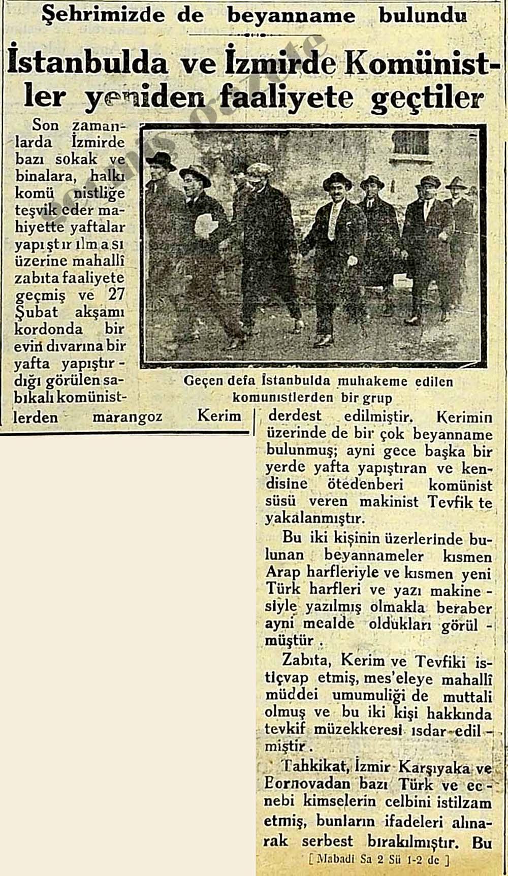 İstanbulda ve İzmirde Komünistler yeniden faaliyete geçtiler