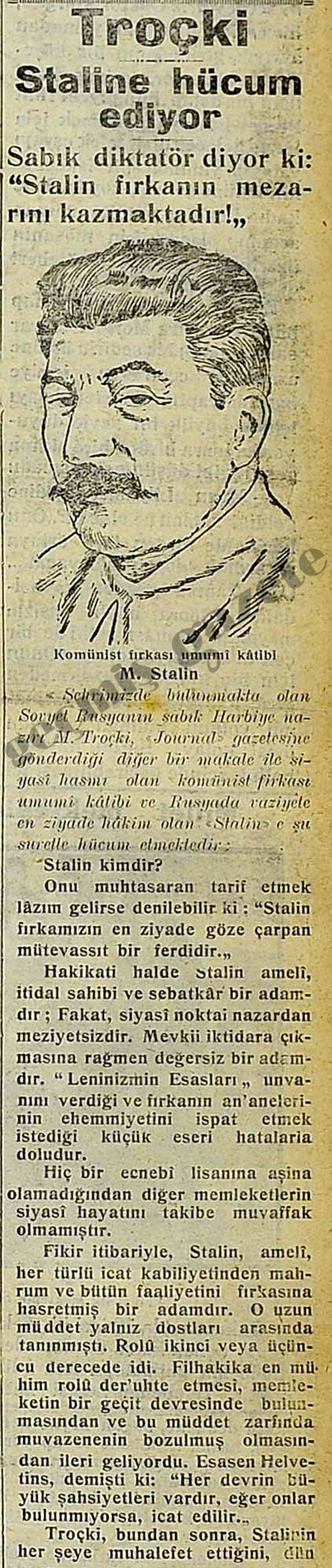 Troçki Staline hücum ediyor