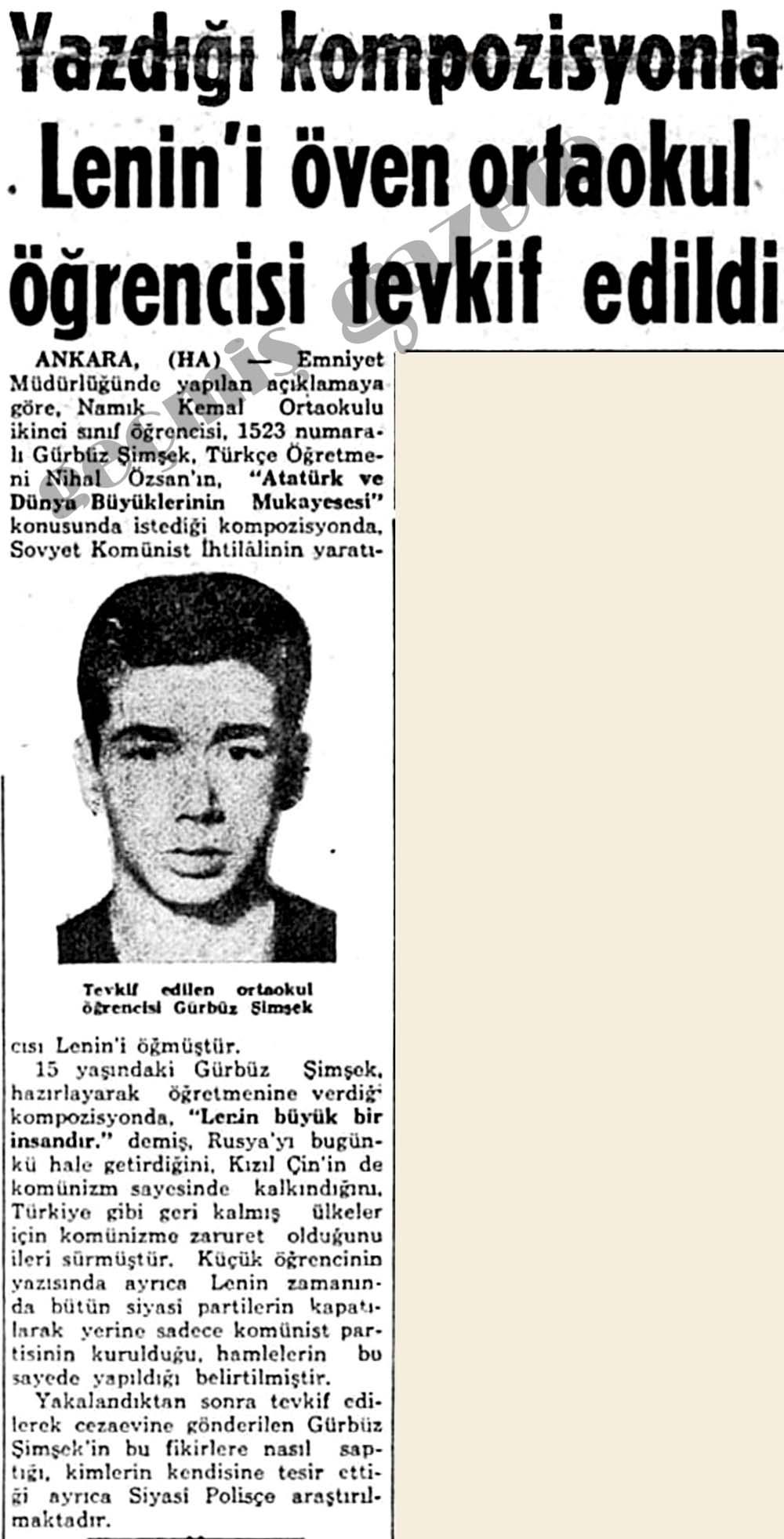 Yazdığı kompozisyonla Lenin'i öven ortaokul öğrencisi tevkif edildi