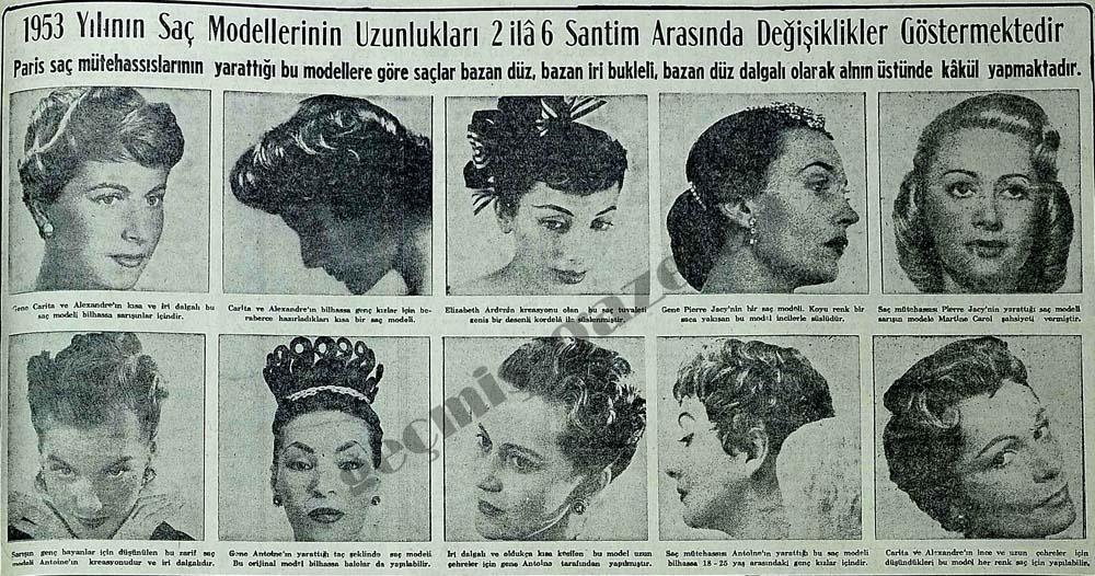 1953 yılının saç modellerinin uzunlukları değişiklikler göstermektedir