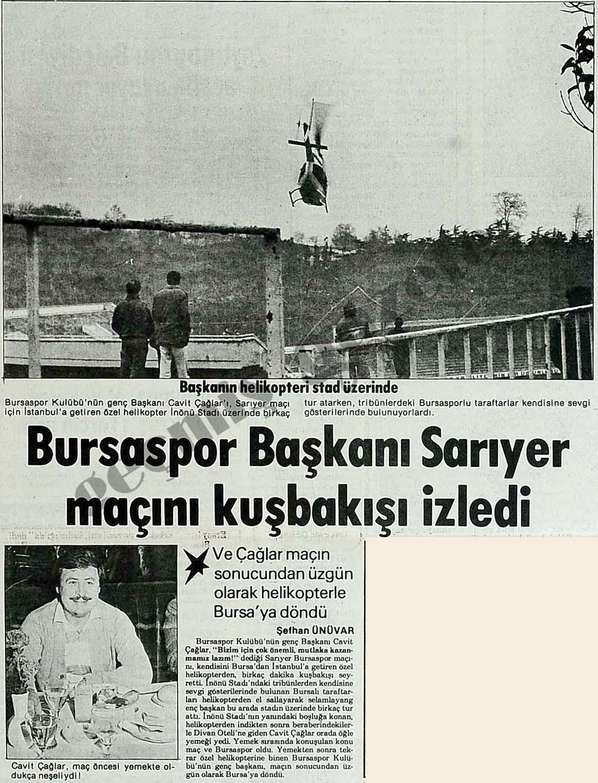 Bursaspor Başkanı Sarıyer maçını kuşbakışı izledi