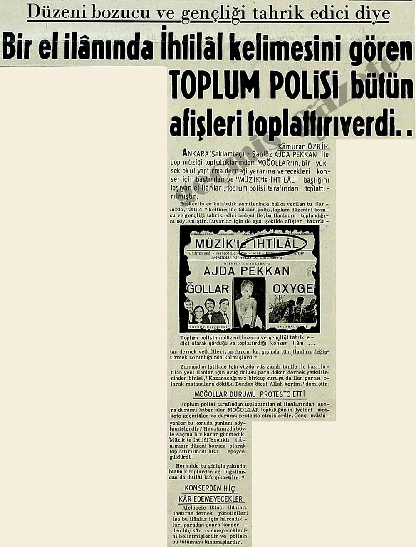 Bir el ilanında İhtilal kelimesini gören Toplum Polisi bütün afişleri toplattırıverdi..