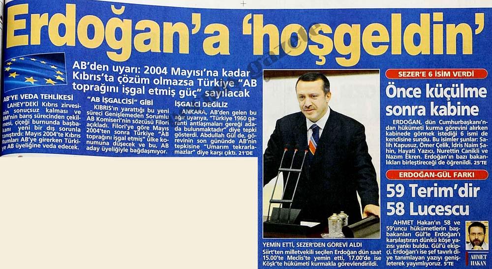 Erdoğan'a 'hoşgeldin'