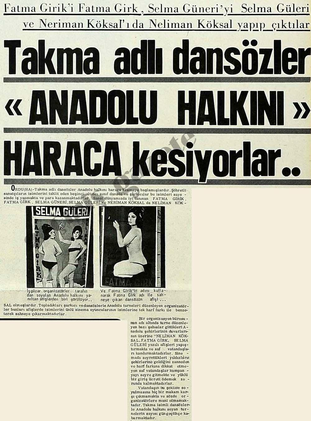 """Takma adlı dansözler """"Anadolu halkını"""" haraca kesiyorlar.."""