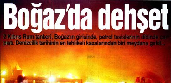 2 Kıbrıs Rum tankeri, Boğaz'ın girişinde çarpıştı