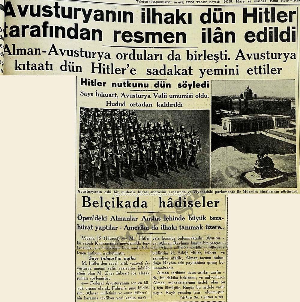 Avusturyanın ilhakı dün Hitler tarafından resmen ilan edildi