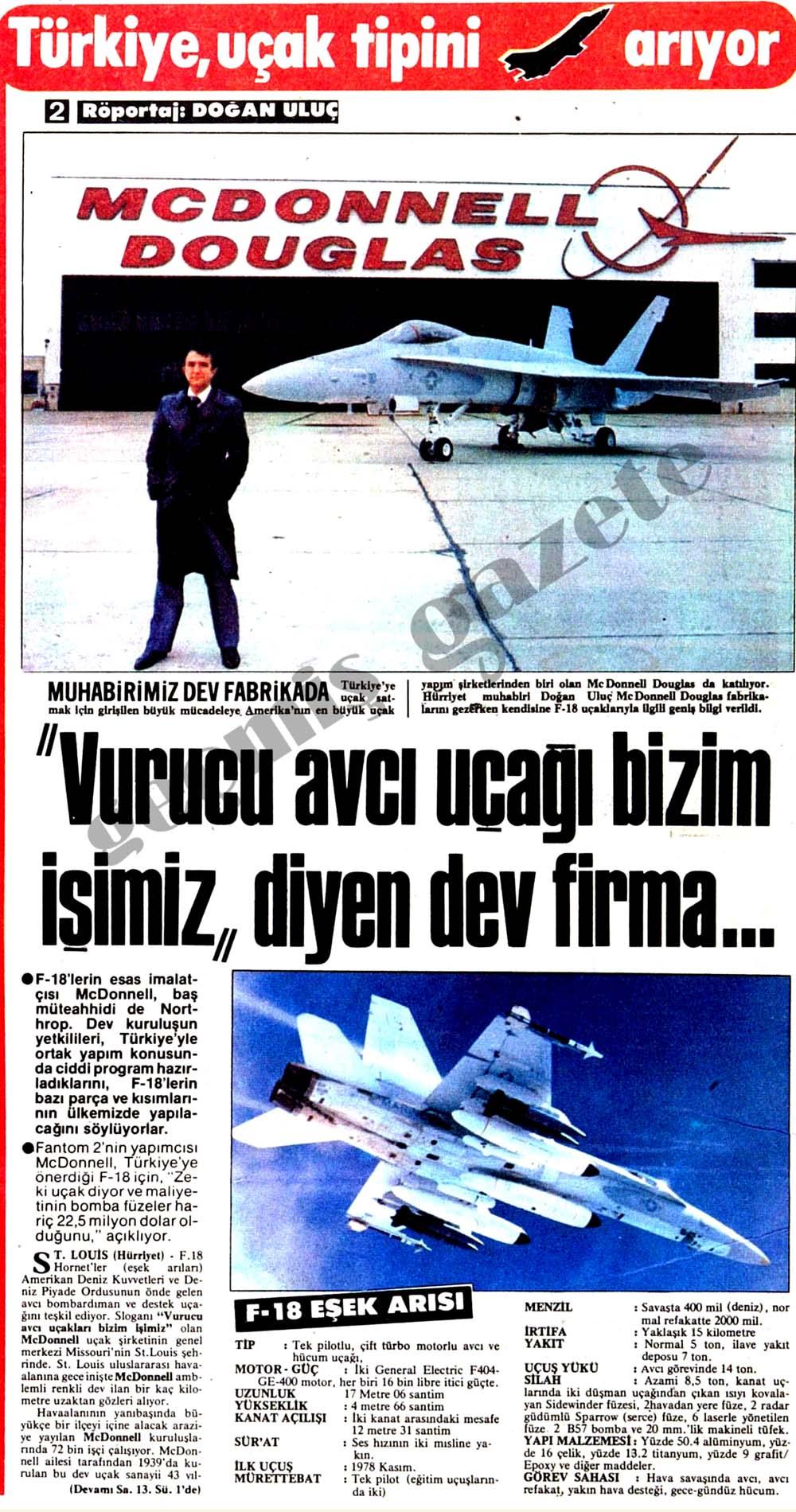 Türkiye, uçak tipini arıyor