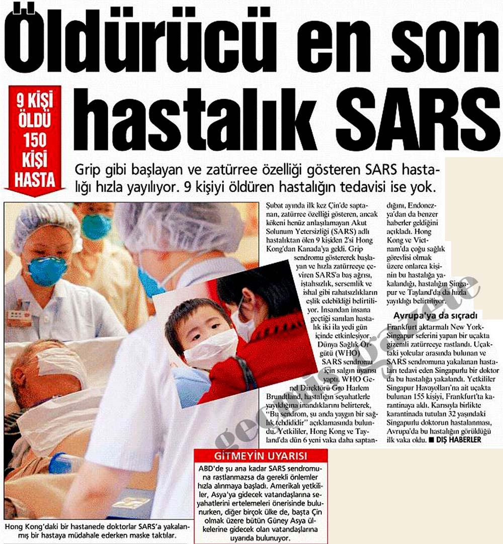 Öldürücü en son hastalık SARS