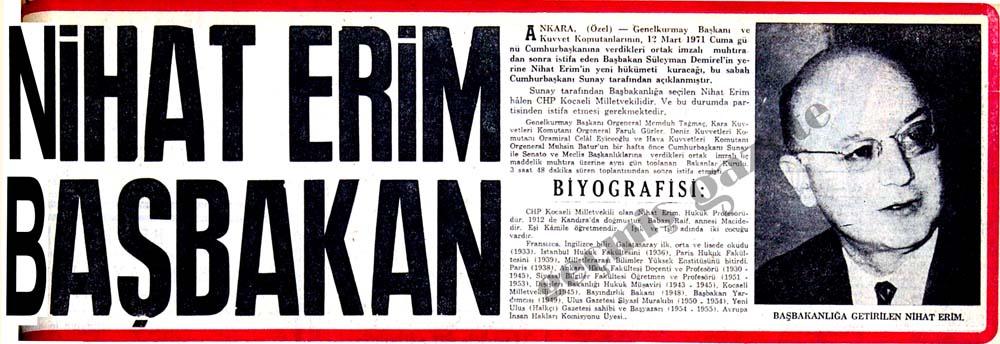 Nihat Erim Başbakan