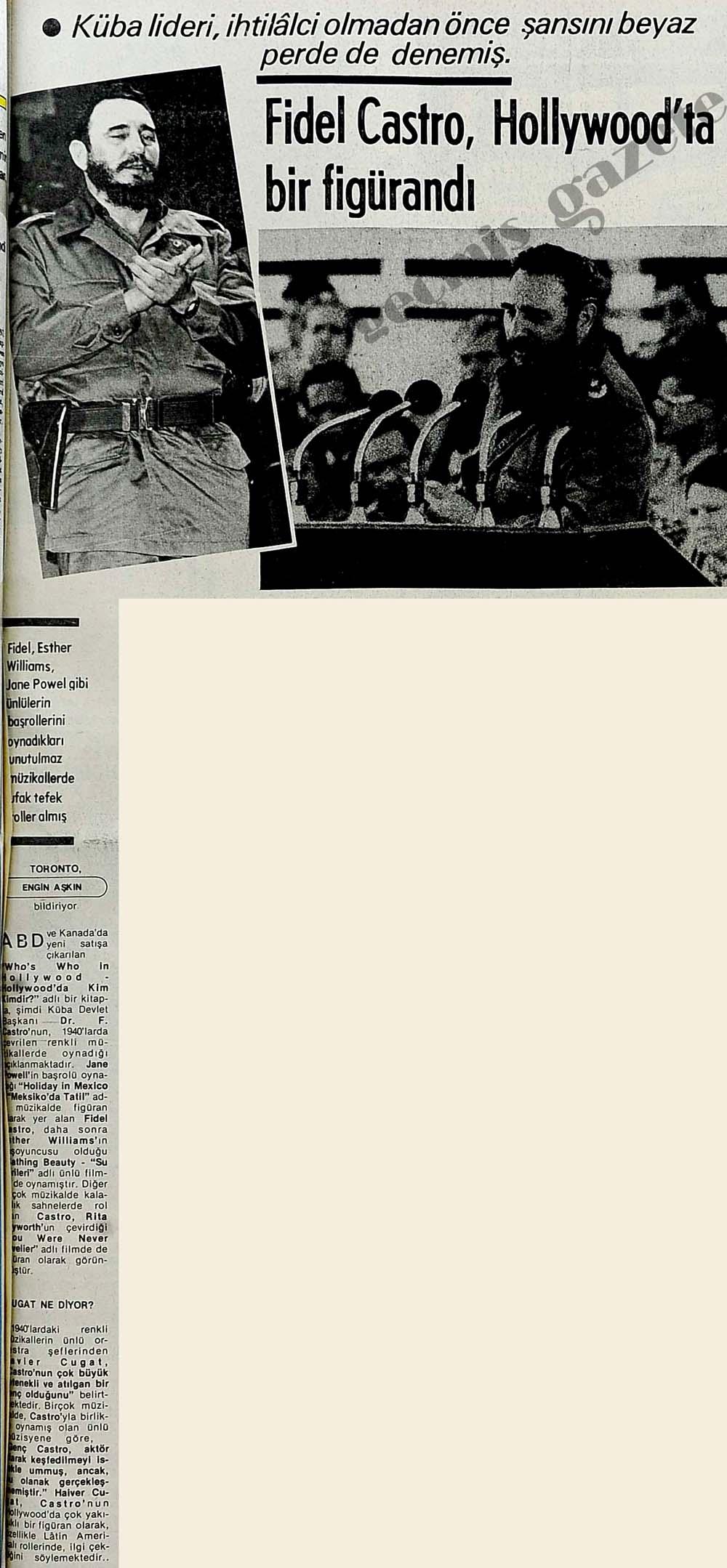 Fidel Castro, Hollywood'ta bir figürandı