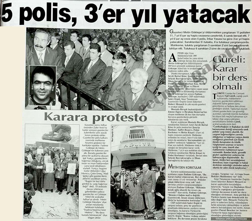 Metin Göktepe'yi öldürmekten yargılanan 11 polisten 5'i, 7 yıl 6'şar ay hapis cezasına çarptırıldı