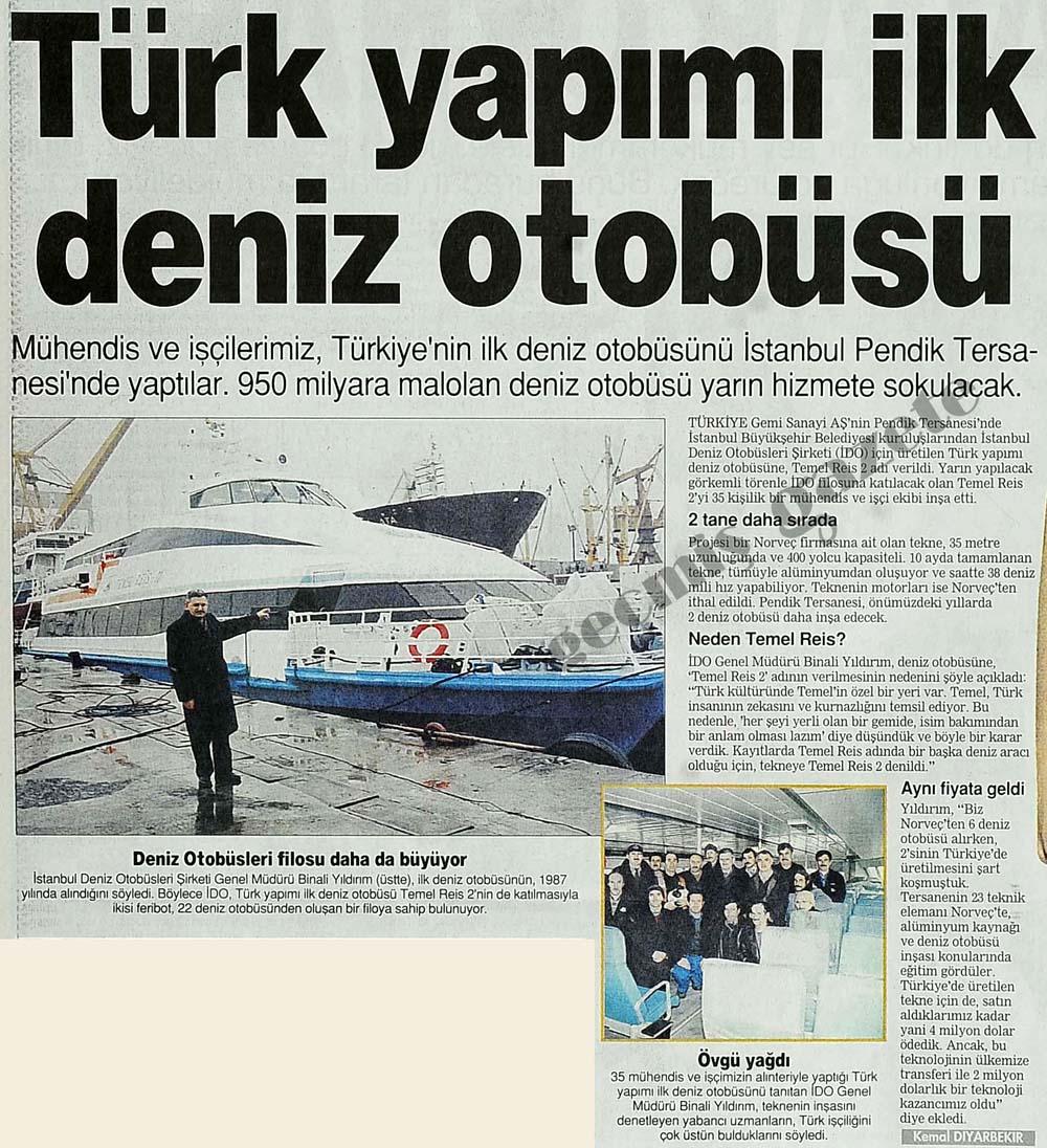Türk yapımı ilk deniz otobüsü