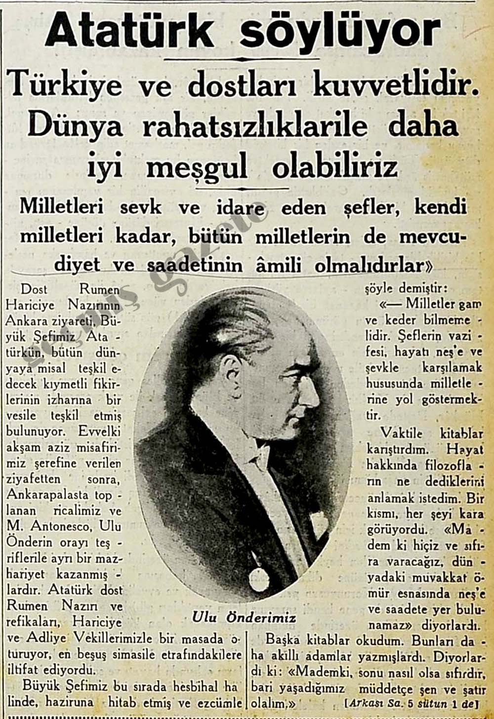 Atatürk söylüyor