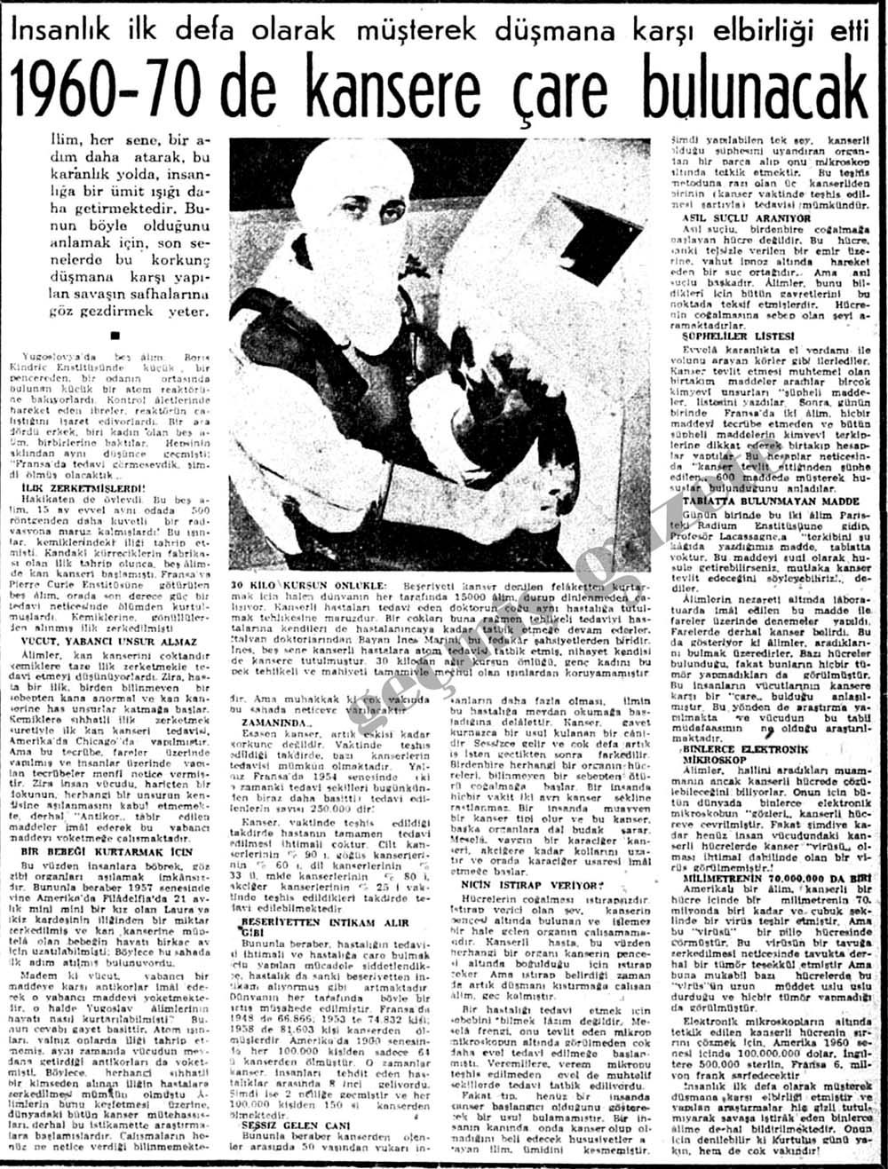 1960-70 de kansere çare bulunacak