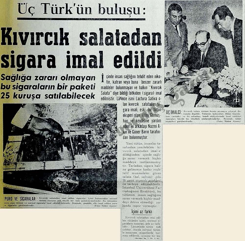 Üç Türk'ün buluşu: Kıvırcık salatadan sigara imal edildi