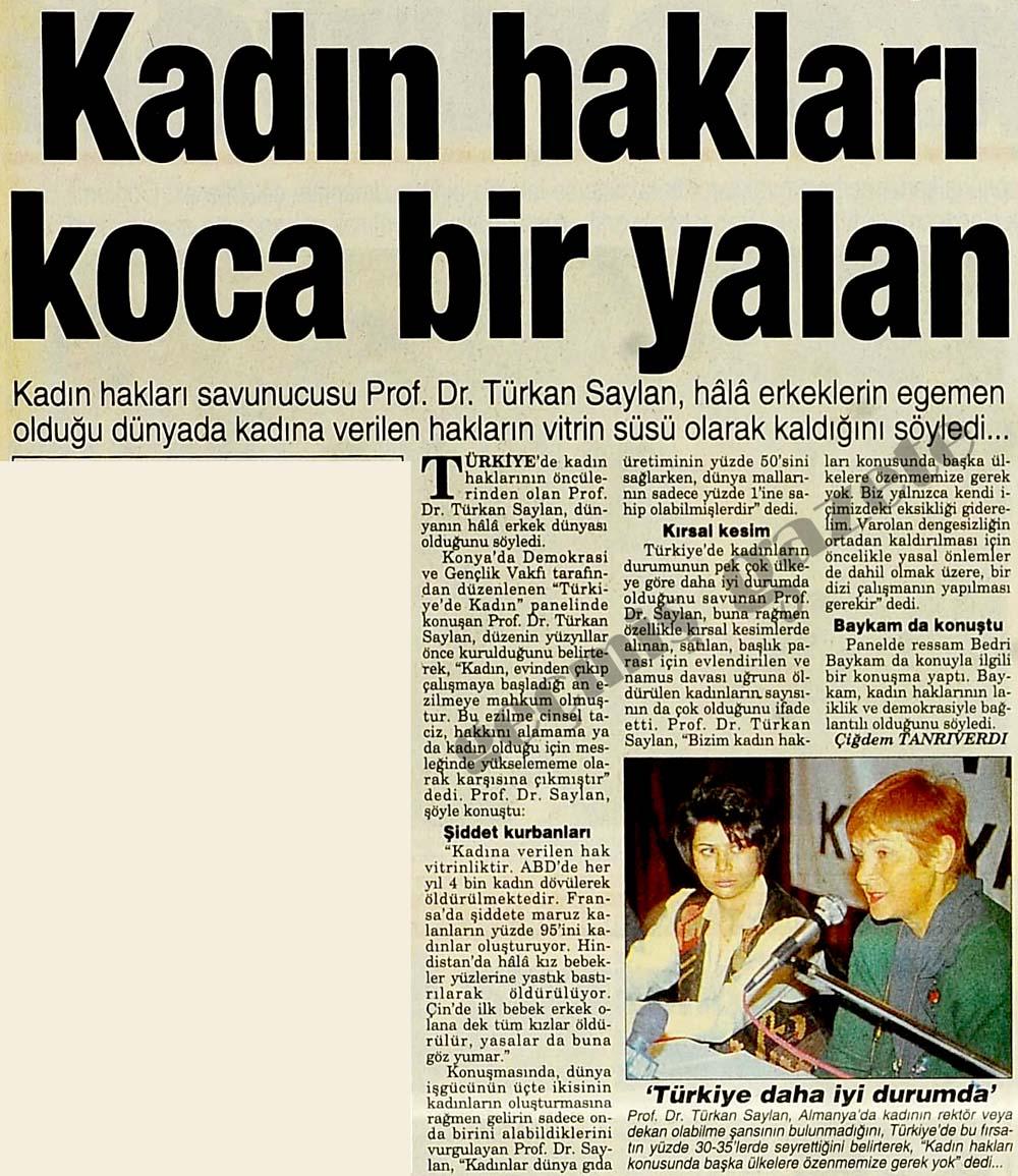 Kadın hakları savunucusu Prof. Dr. Türkan Saylan: Kadın hakları koca bir yalan