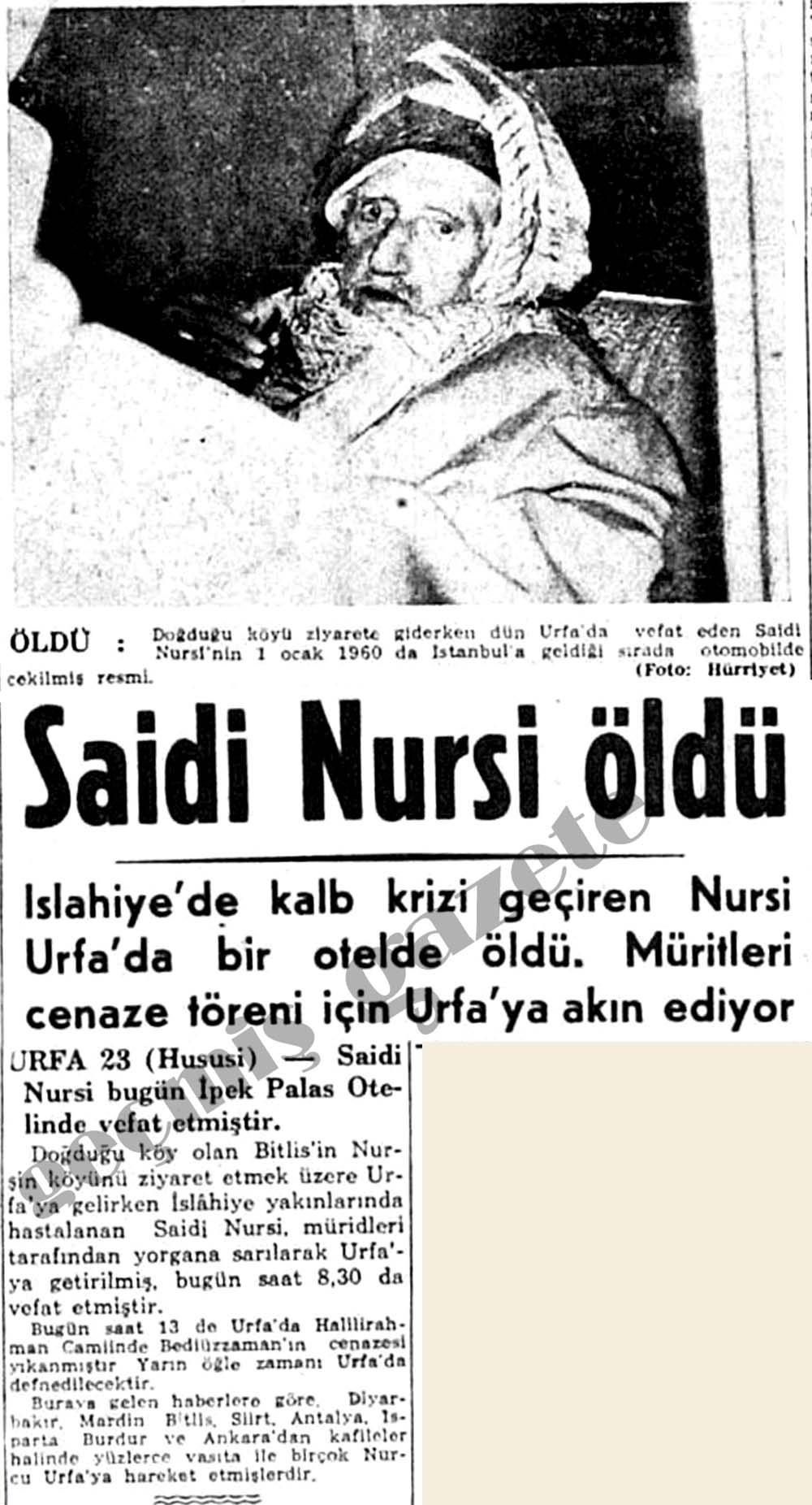 Saidi Nursi öldü