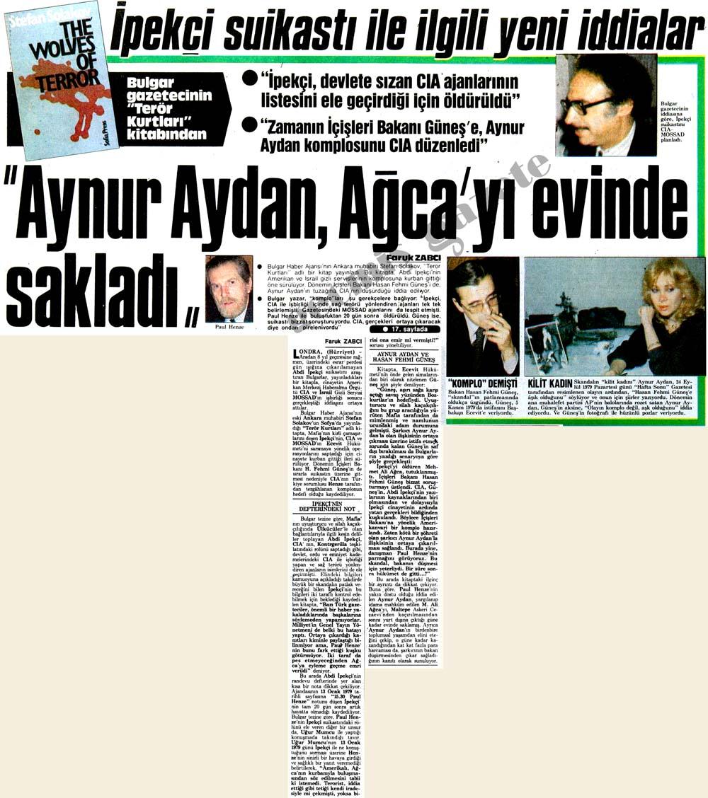 """İpekçi suikasti ile ilgili yeni iddialar: """"Aynur Aydan, Ağca'yı evinde sakladı"""""""