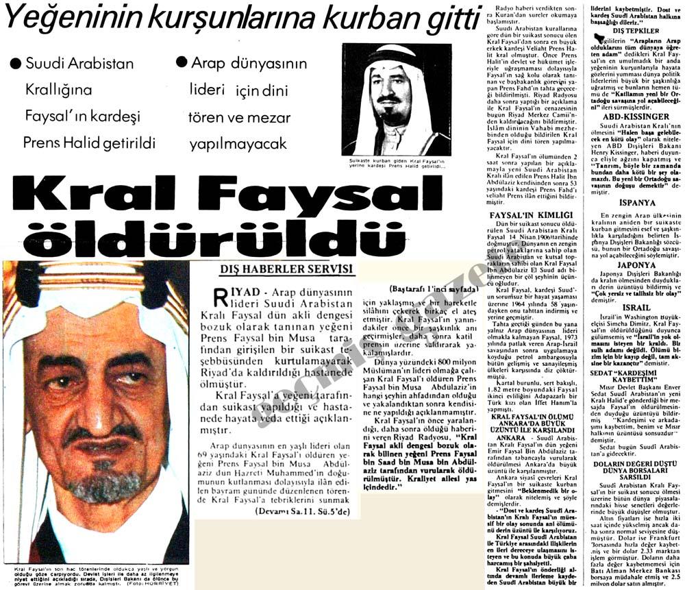 Kral Faysal öldürüldü