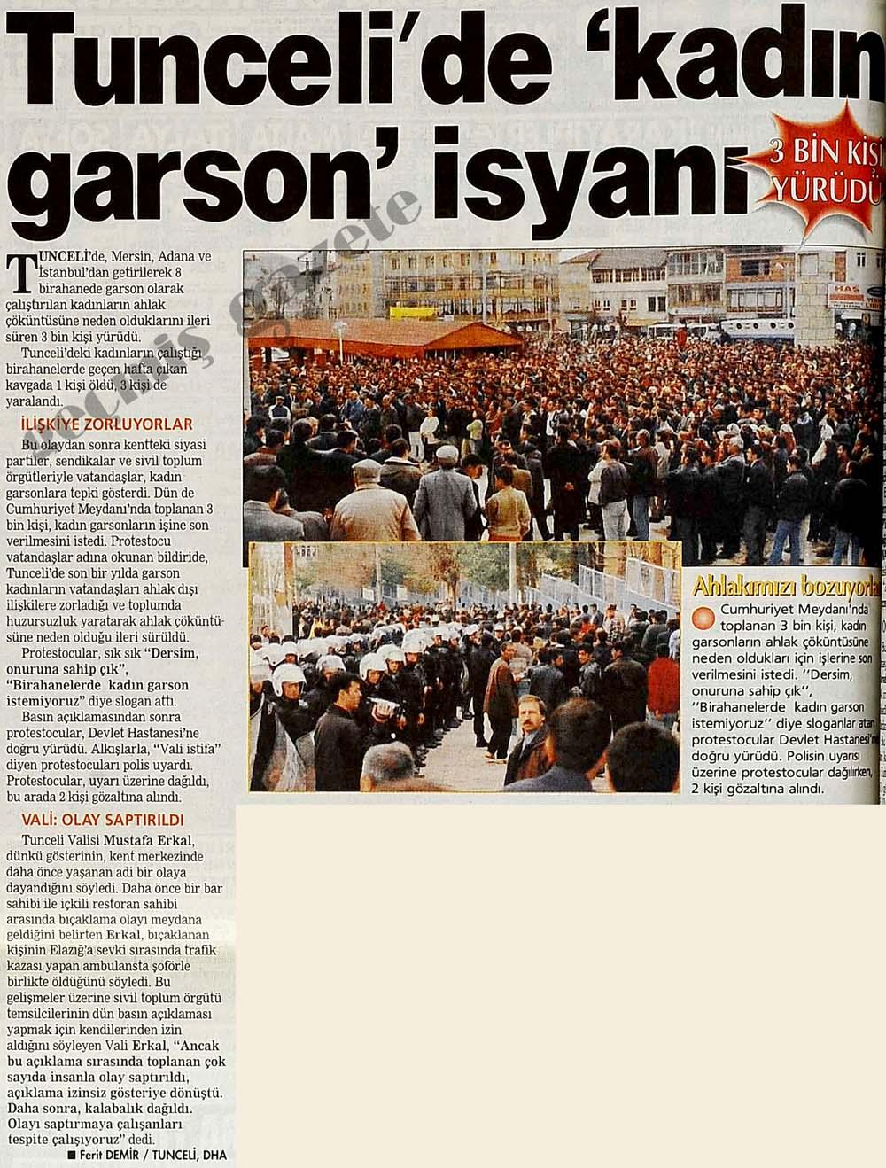 Tunceli'de 'kadın garson' isyanı