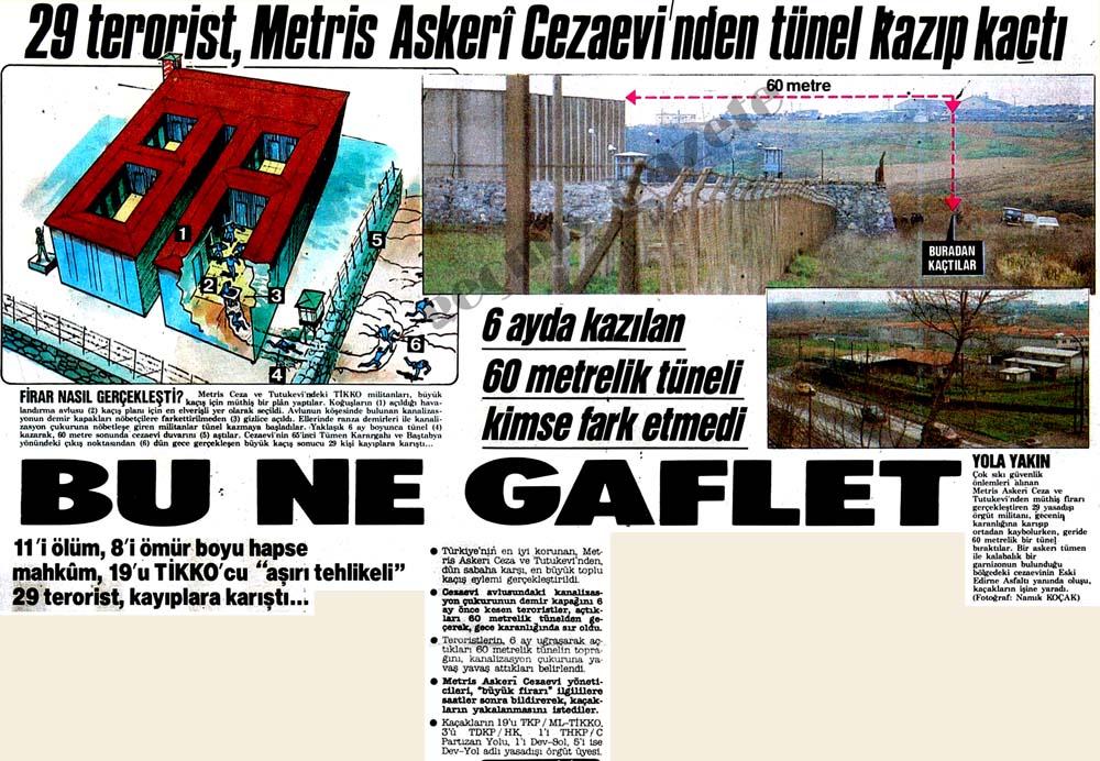 29 terörist, Metris Askeri Cezaevi'nden tünel kazıp kaçtı